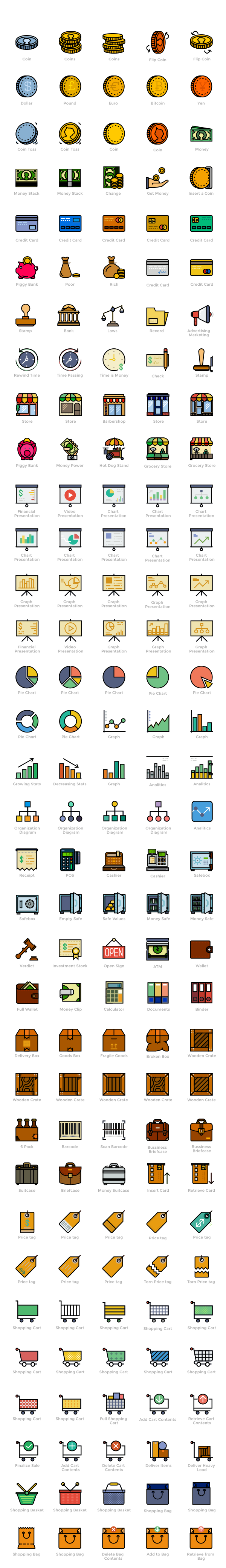 170 Free Retro Shopping, Finance & Business Icons -600