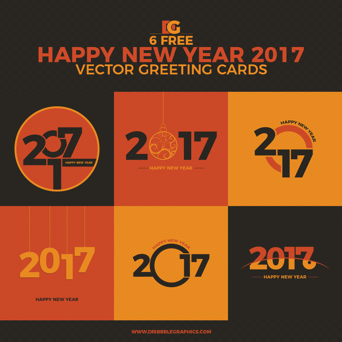 6 Free Happy New Year 2017 Vector Greeting Cards Dribbble Graphics