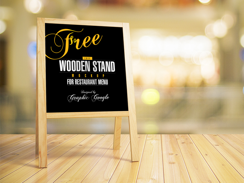 Free Menu Wooden Stand MockUp for Restaurant
