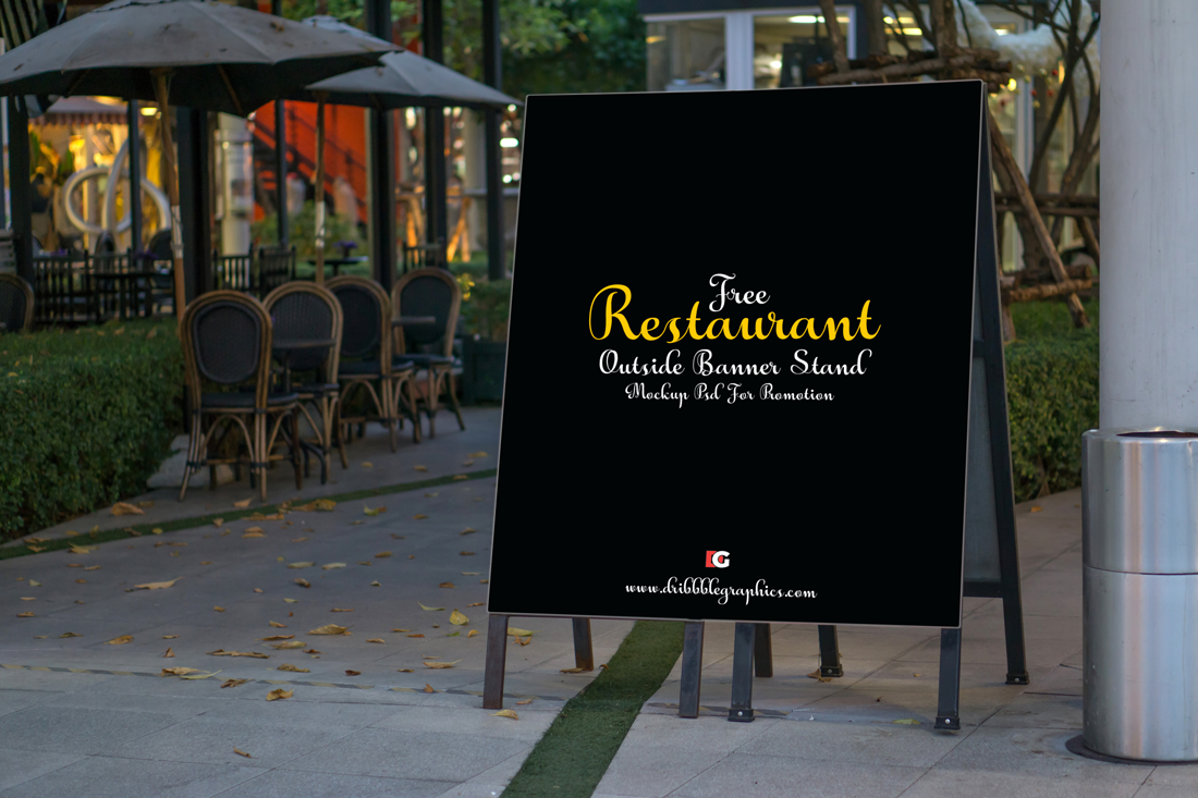 Restaurant-Outside-Banner-Stand-Mock-up-Psd-For-Promotion