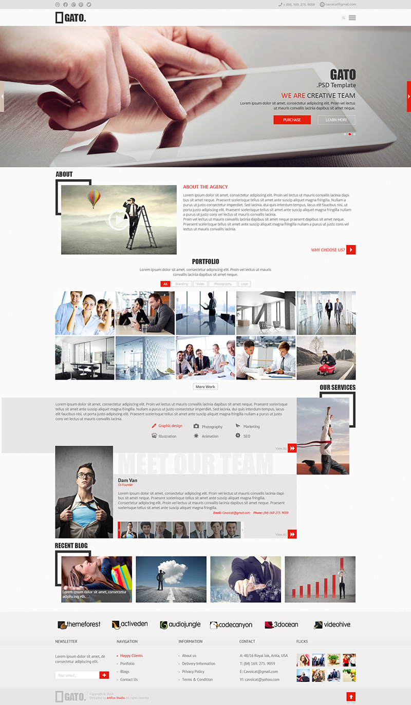 6 Free GATO PSD Website Templates 2