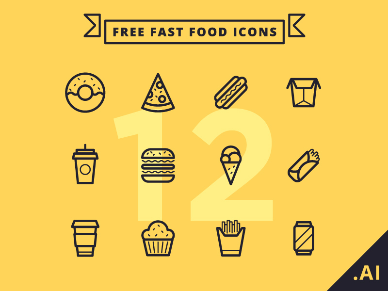 Free-Flat-Fast-Food-Icons