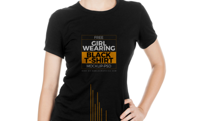Free-Girl-Wearing-Black-T-Shirt-Mock-up-Psd-2017