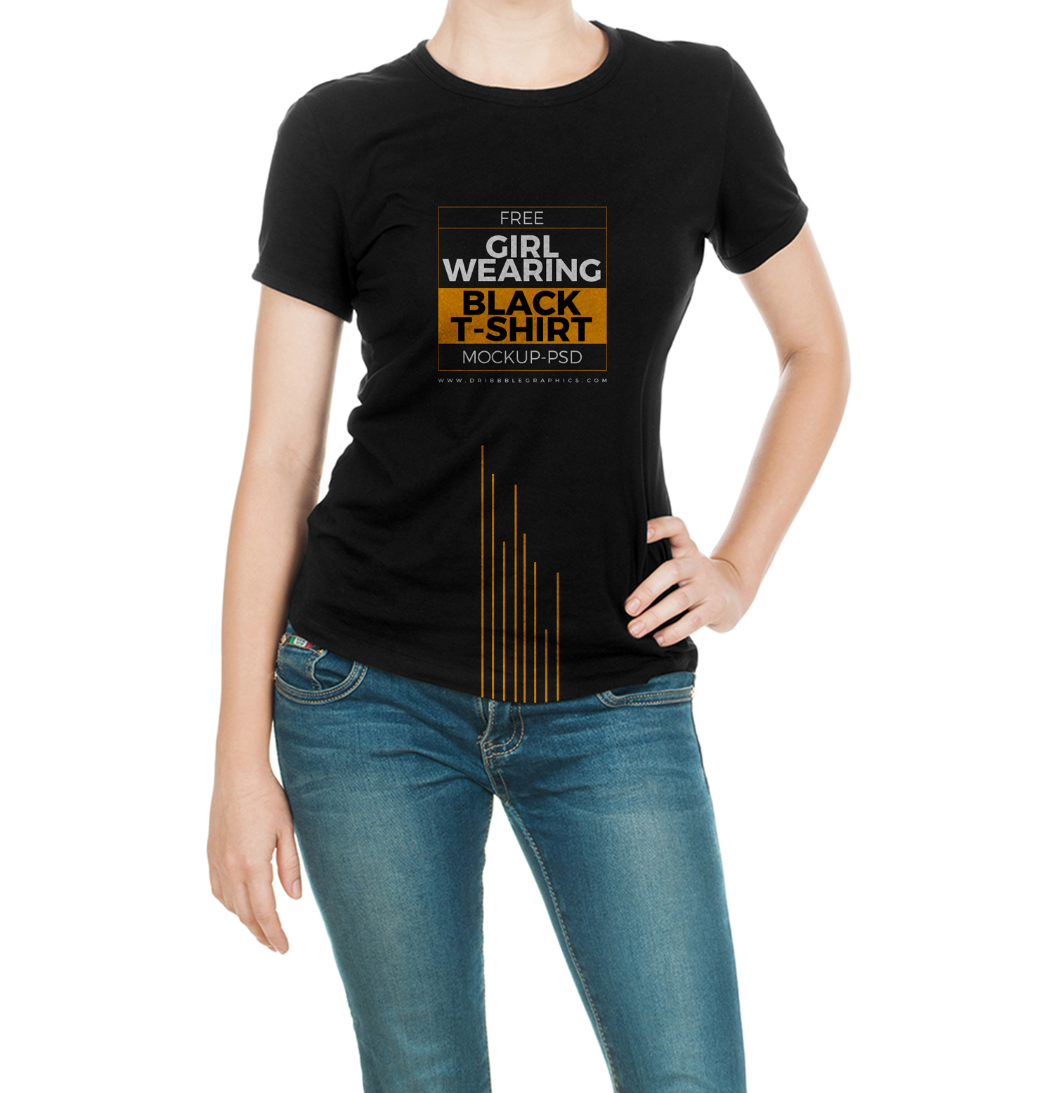Free-Girl-Wearing-Black-T-Shirt-Mock-up-Psd