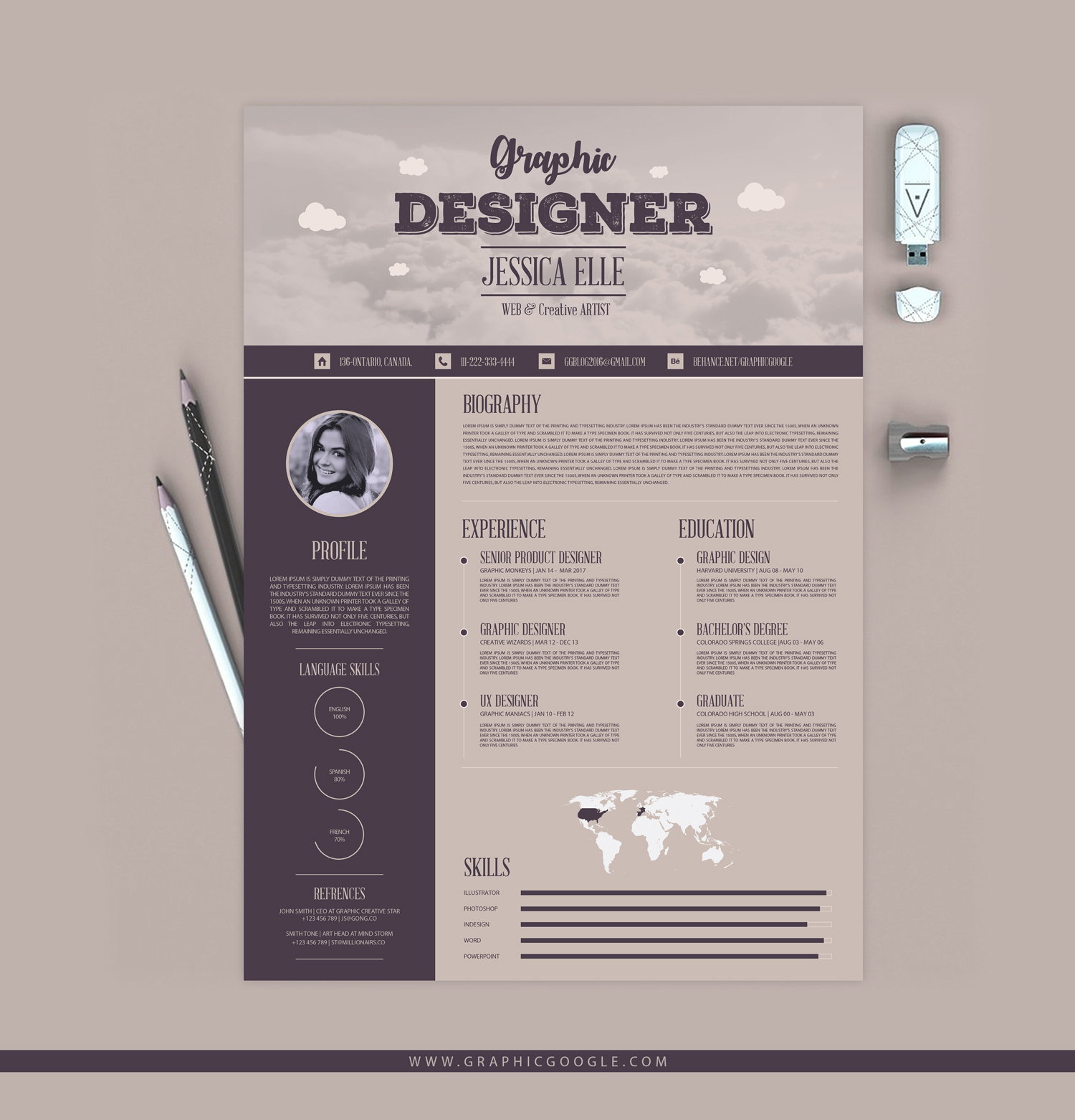 free vintage style designers resume design template