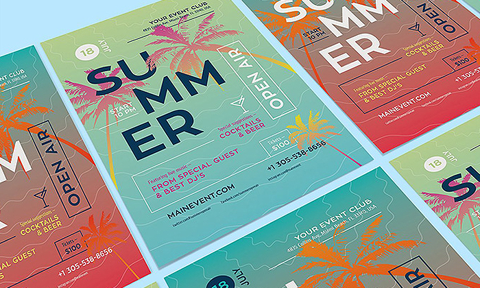 Free Summer Poster Design Template | Dribbble Graphics