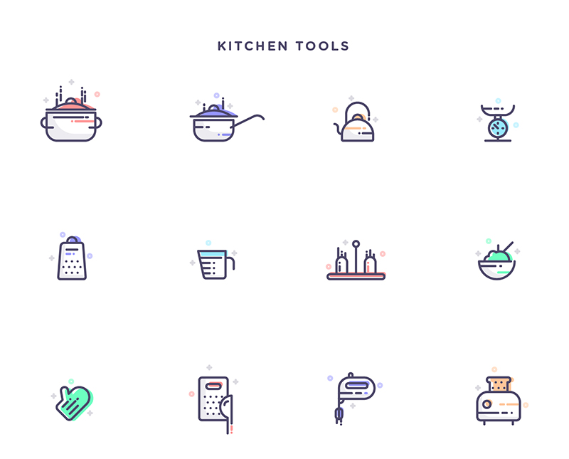 Free-Instruments,-Transportation-&-Kitchen-Tools-Icons-Set-2