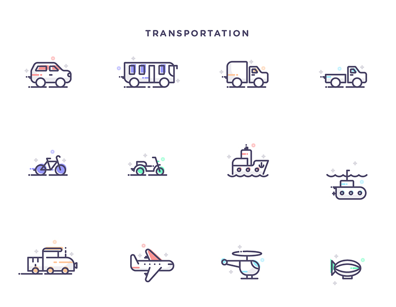 Free-Instruments,-Transportation-&-Kitchen-Tools-Icons-Set-4