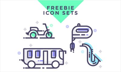 Free-Instruments,-Transportation-&-Kitchen-Tools-Icons-Set