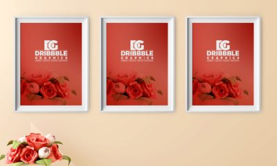 Free-Poster-Frame-Mockup-with-Beautiful-Flowers-on-Background-Preview