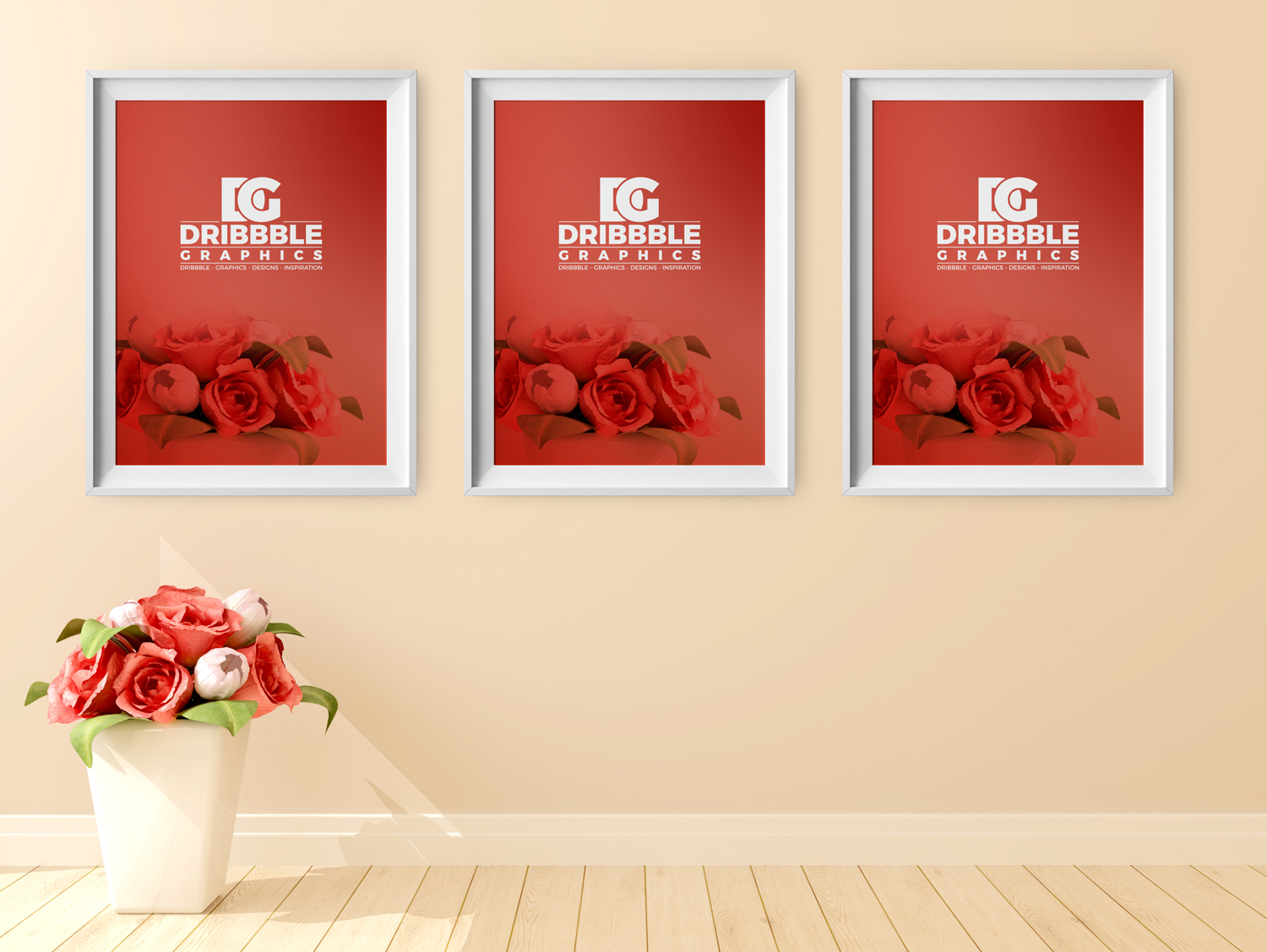 Free-Poster-Frame-Mockup-with-Beautiful-Flowers-on-Background