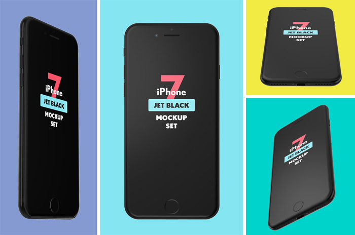 Free-iPhone-7-Jet-Black-Mockup-Set