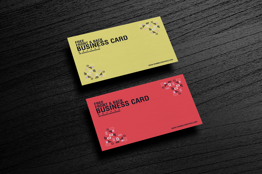 Free-Front-&-Back-Business-Card-Mockup-on-Wooden-Background
