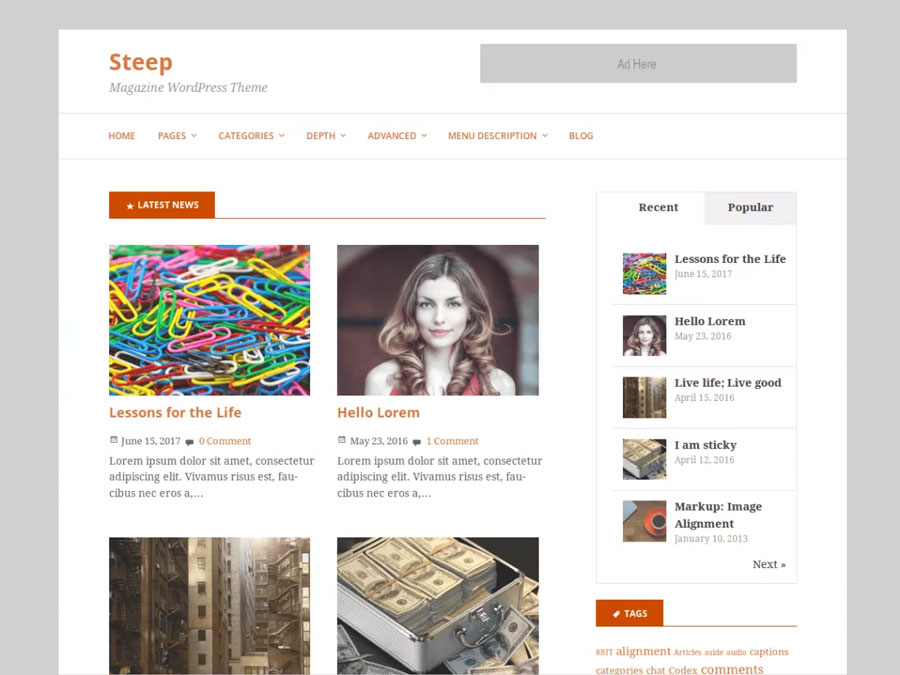 Steep-Simple-Free-WordPress-Magazine-theme