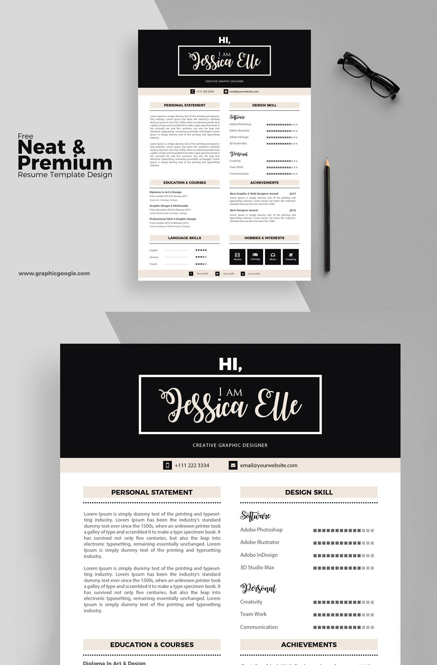 Free-Simple-&-Elegant-Free-Resume-Design-Template