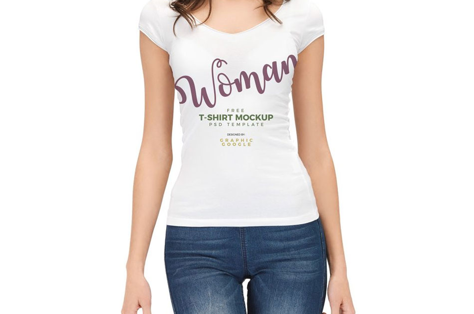 Woman-wearing-T-Shirt-Mockup-Free
