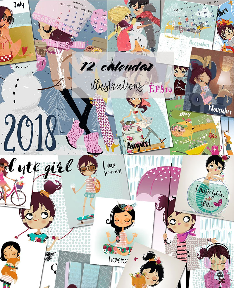 16-Cute-Girl-Characters-Artistic-2018-Illustration-Calendar