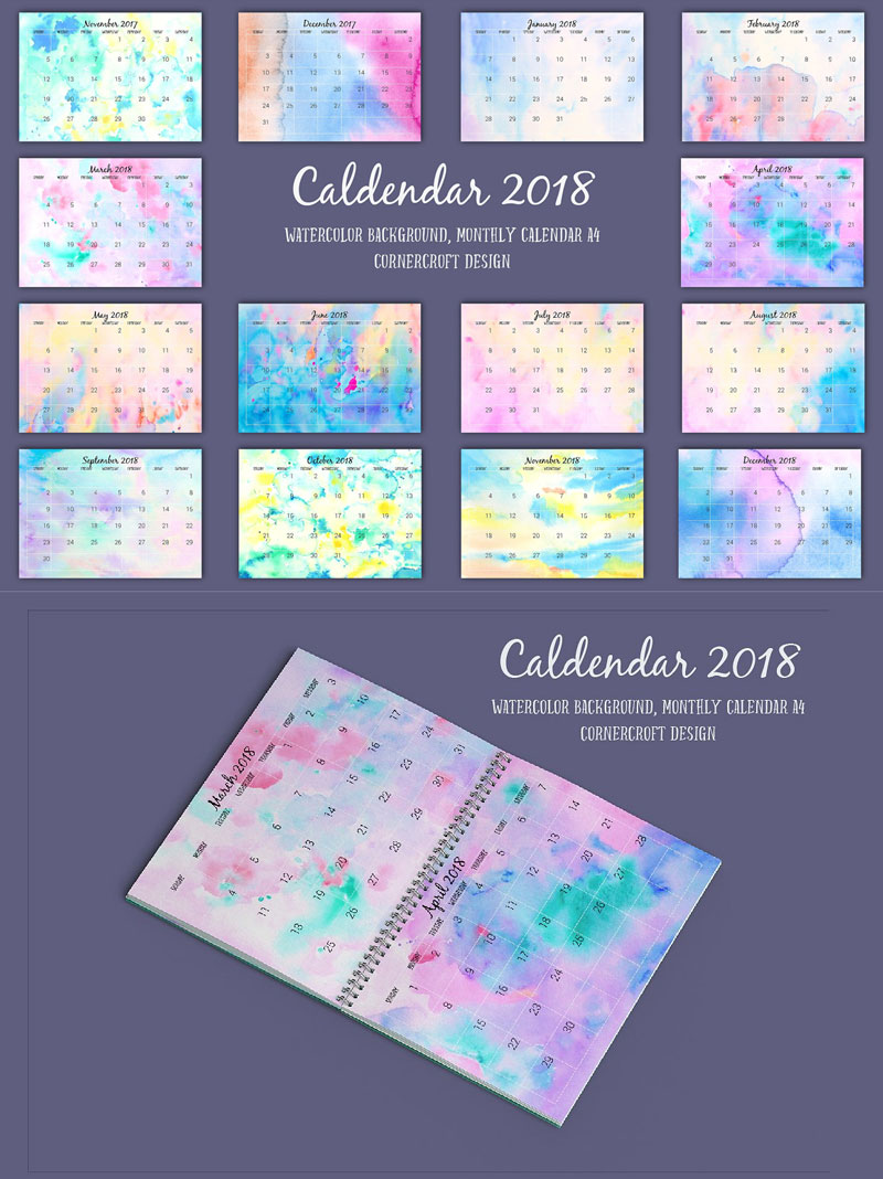 2018-Printable-Calendar-Monthly-Watercolor