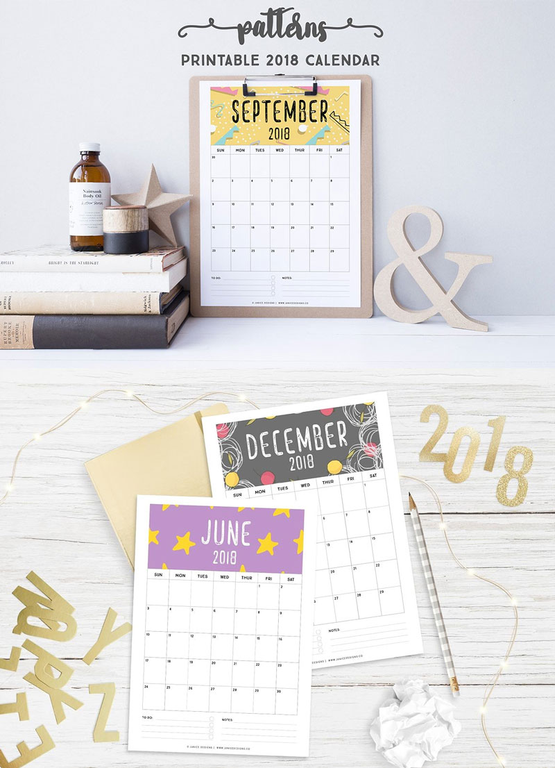 2018-Printable-Calendar-Patterns
