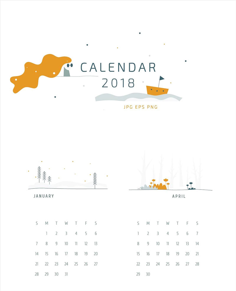 Creative-and-Artistic-Elements-Calendar-2018