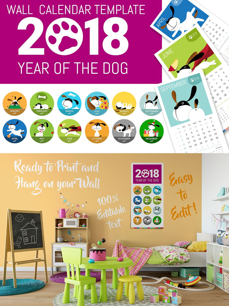 Cute-2018-Dog-Wall-Calendar-Template