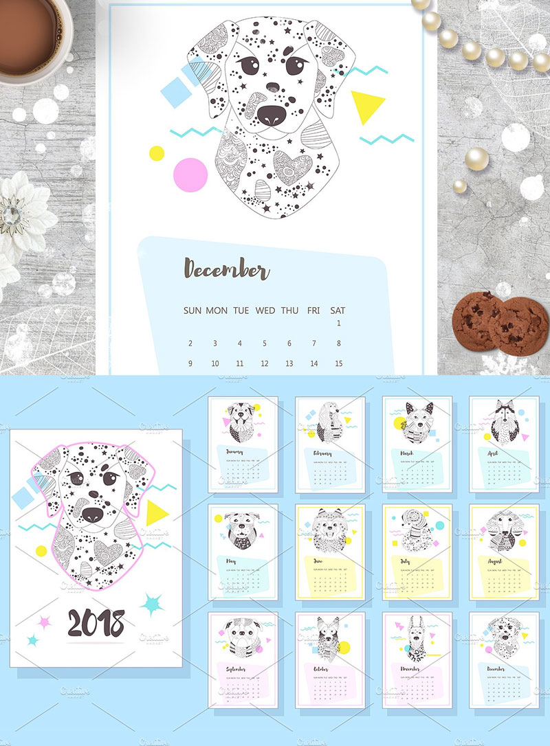Dogs-Coloring-Pages-Calendar-2018