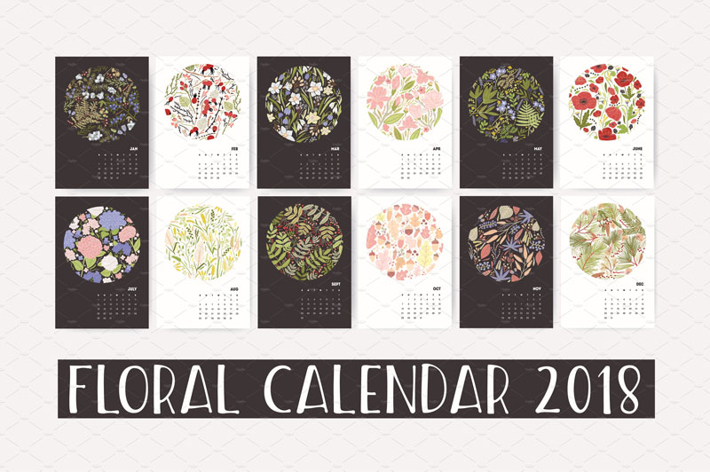 Floral-wall-calendar-2018-Nature-Composition
