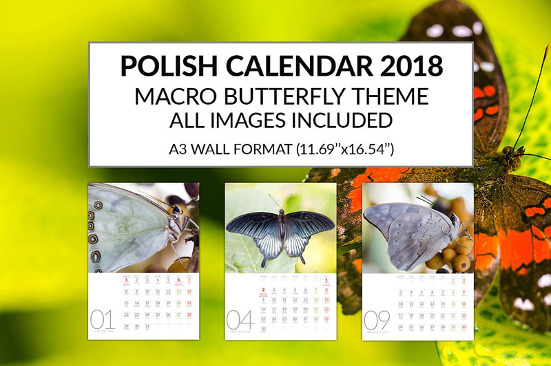 Polish-Calendar-2018-Template-Macro-Butterfly-Theme