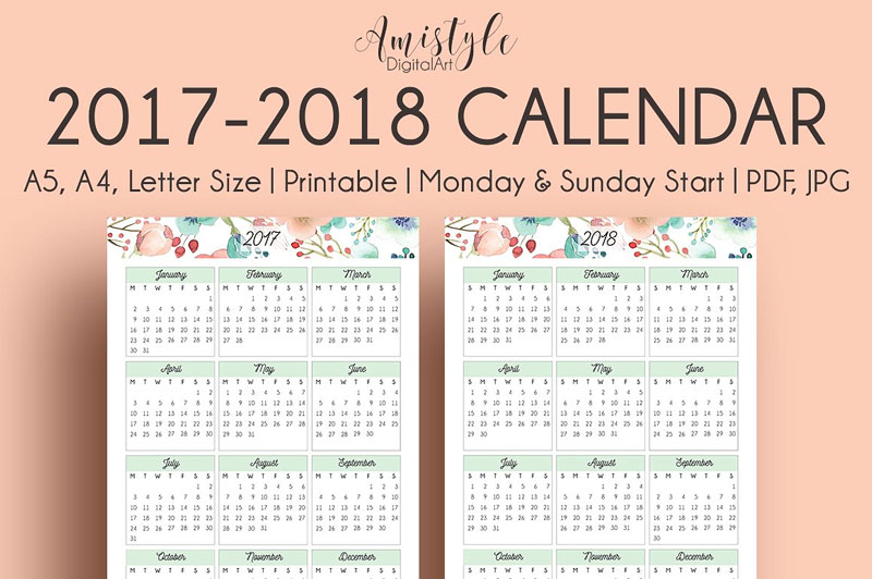 Watercolor-Floral-Printable-Calendar-2018-Design