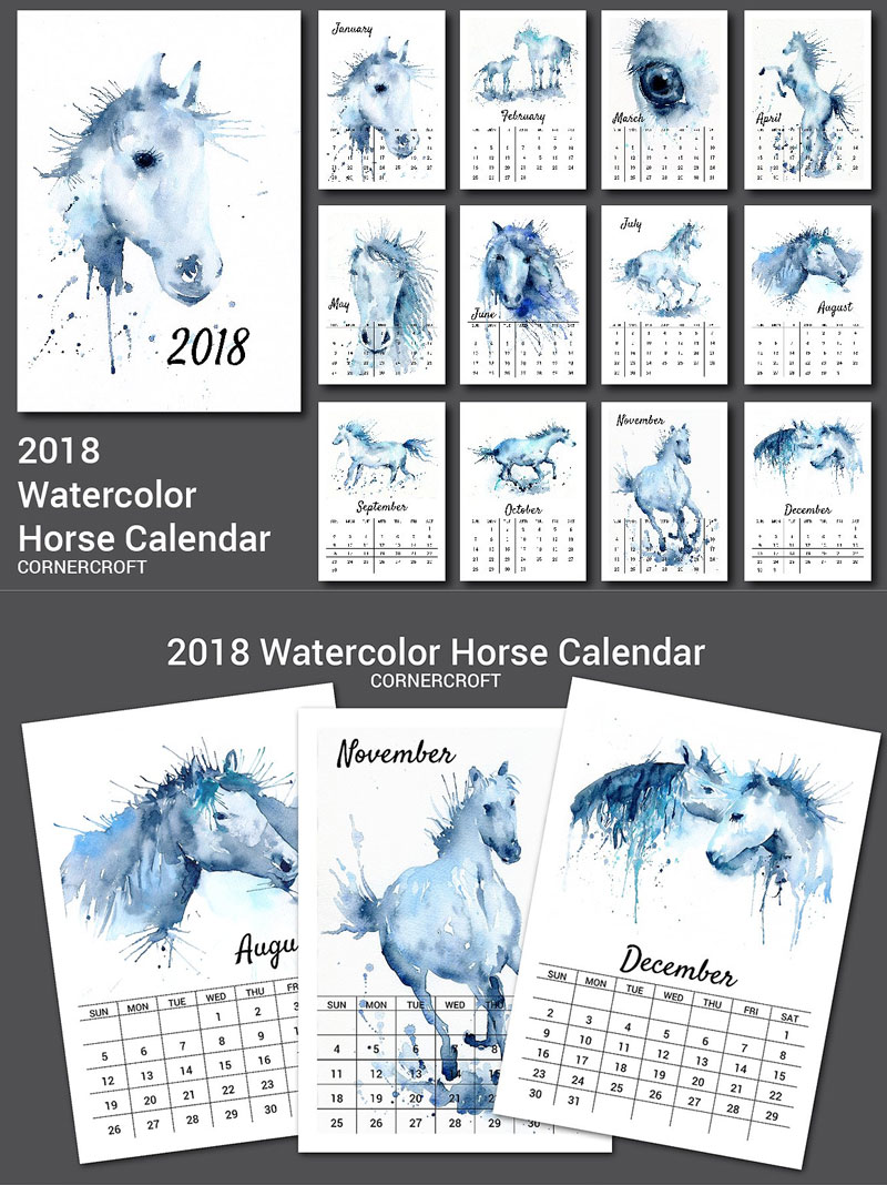Watercolor-Horse-2018-Calendar
