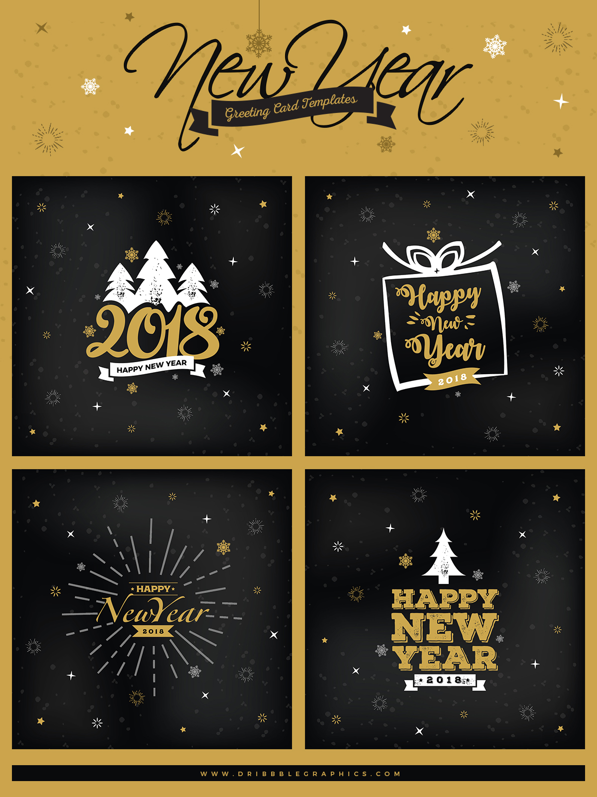 4 free new year greeting card templates