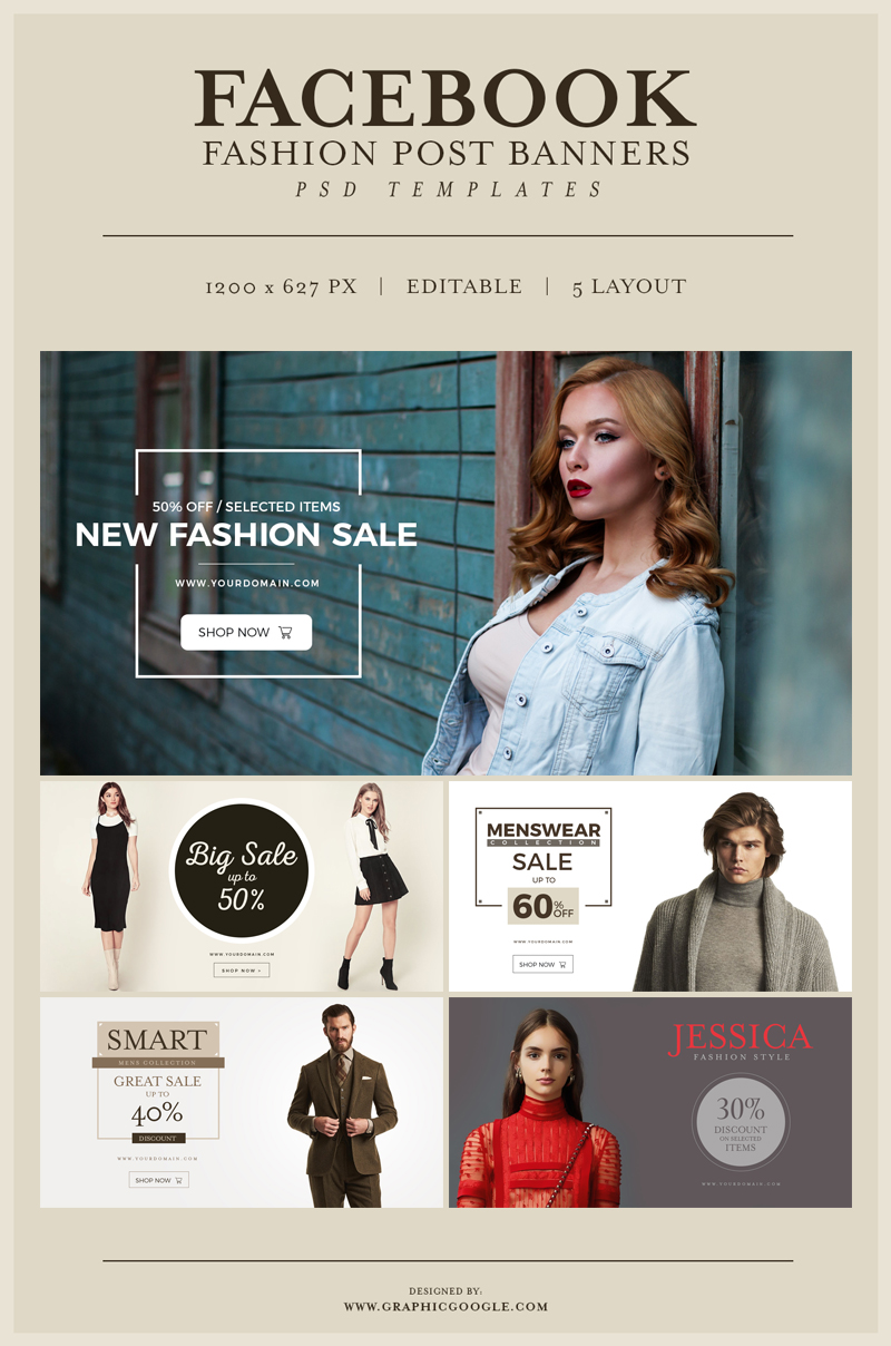 5 free facebook fashion post banners psd templates dribbble graphics