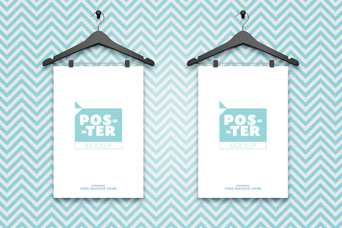 Free-2-Posters-Hanging-on-Hangers-Mockup