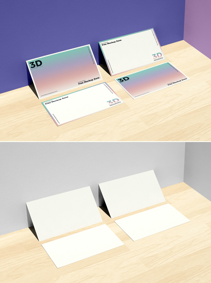 Free-Business-Card-on-Wooden-Background-Mockup