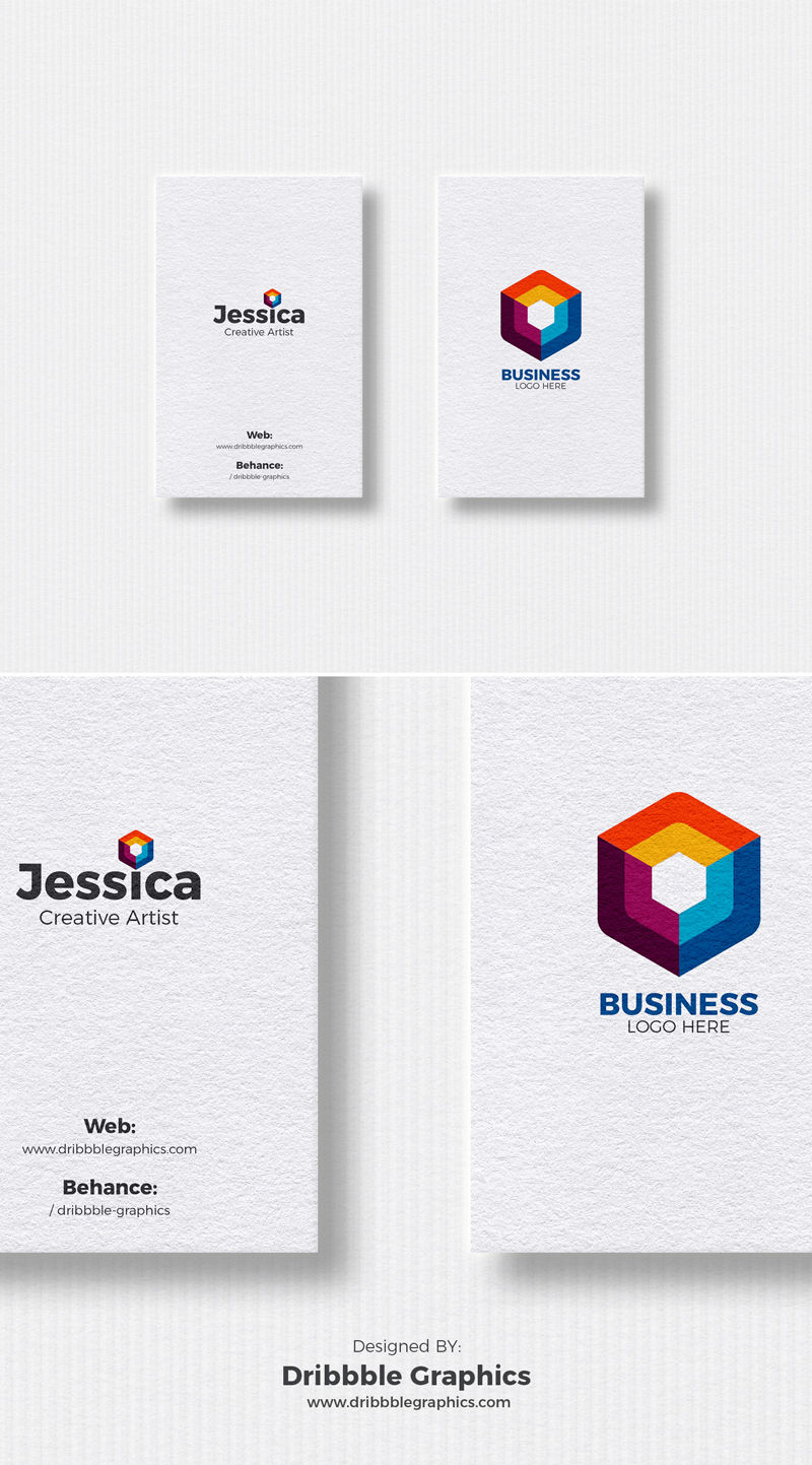 Free 2 Vertical Business Cards Mockup For Designers 2018 | Dribbble ...