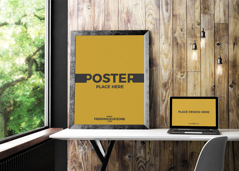 Free-Laptop-With-Poster-Frame-Mockup-PSD-2018