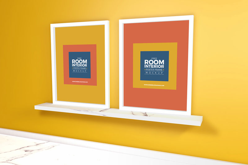 Free-Room-Interior-With-Marble-Floor-Poster-Frame-Mockup-2018