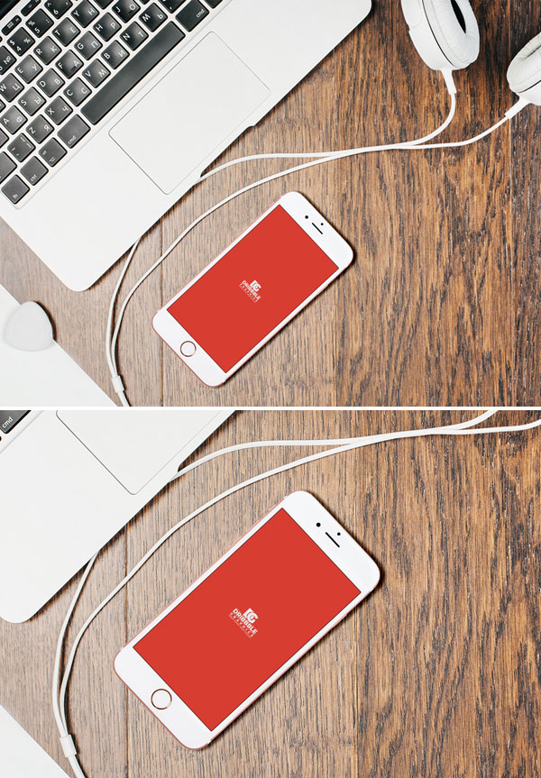 iPhone-7-With-Desktop-&-Headphones-Mockup