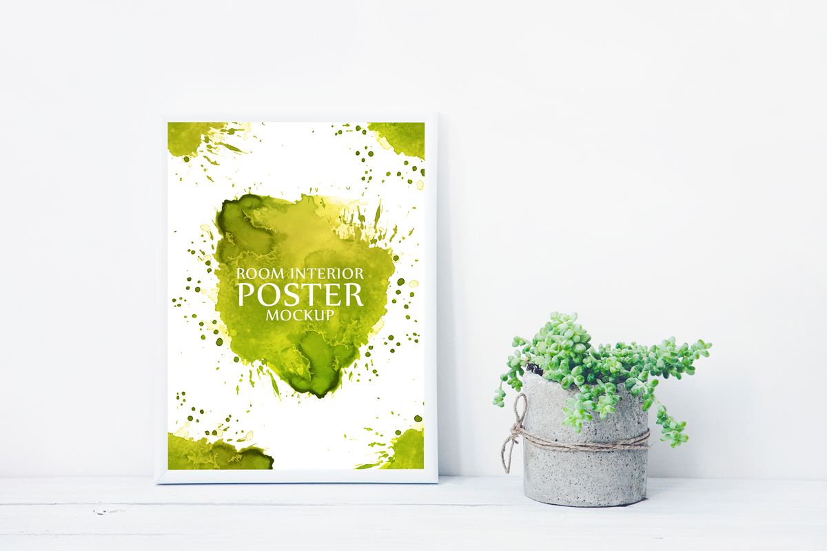 Free-Artistic-Poster-Frame-With-Beautiful-Plants-Pot-Mockup