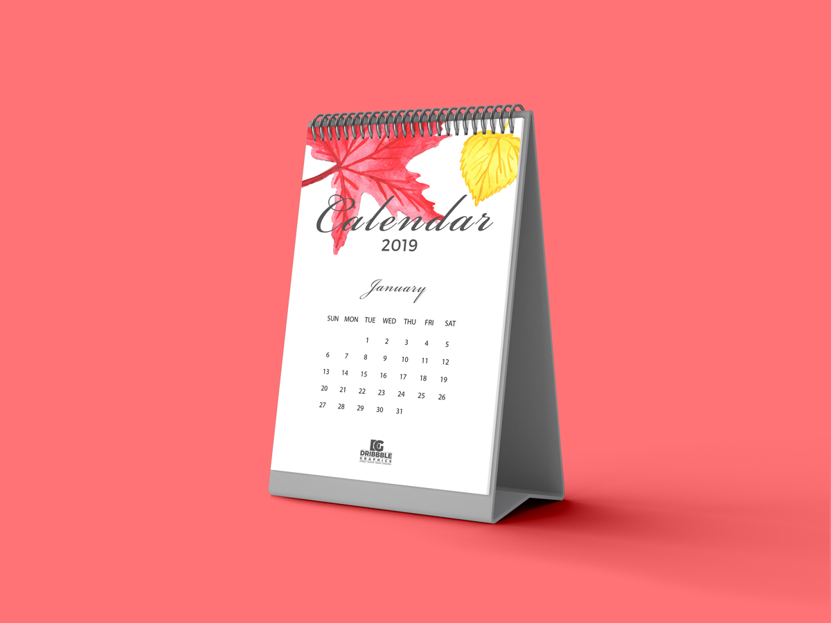 Free Calendar Mockup 2019 Dribbble Graphics