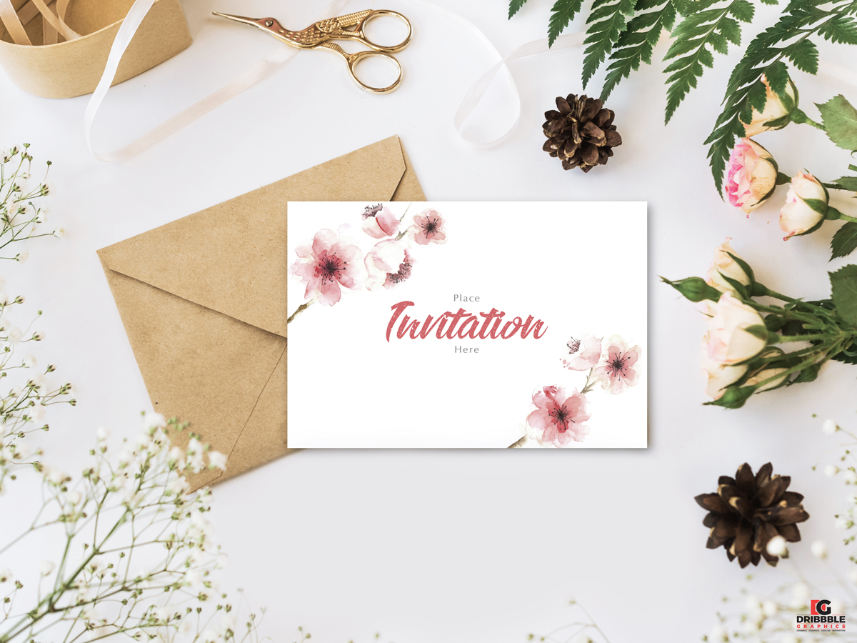 Free-Stylish-Branding-With-Flowers-Invitation-Mockup-PSD
