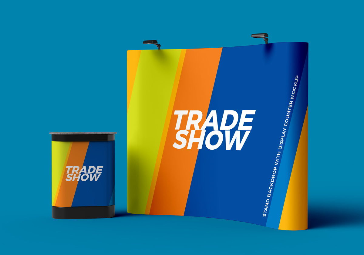 Trade Exhibition Stand Mockup Free : Free trade show display stand with backdrop mockup for