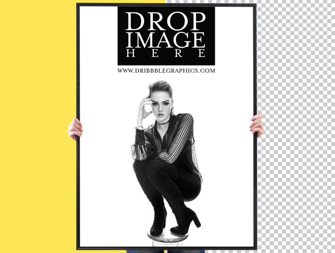 Free-Woman-Showing-Vertical-Poster-Mockup-For-Advertisement