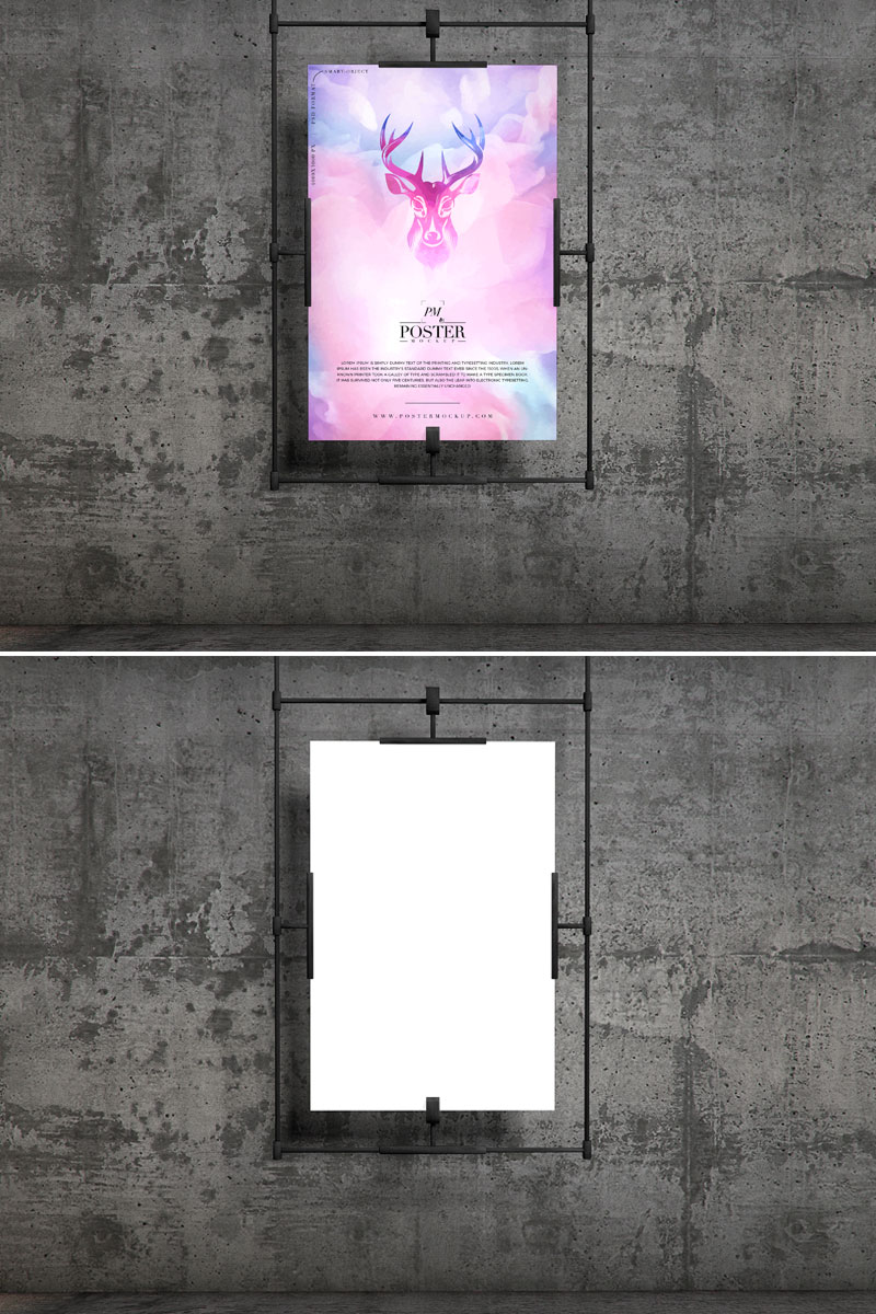 Free-Concrete-Wall-Hanging-Poster-Mockup