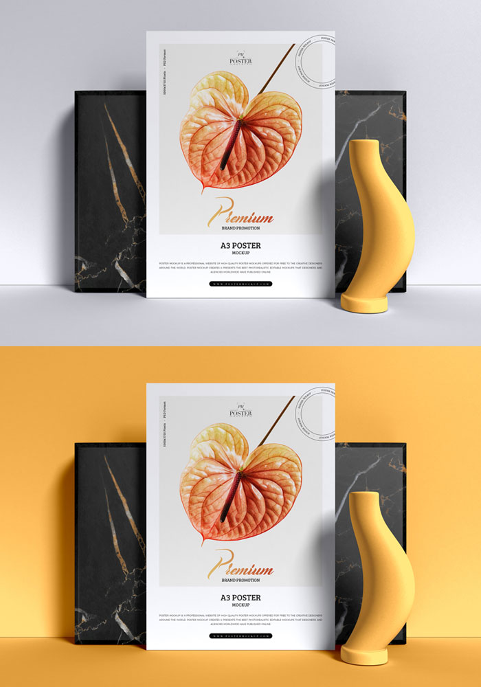 Free-Premium-Brand-Promotion-A3-Poster-Mockup-PSD