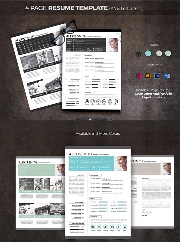 4-Page-Resume-Template-For-Graphic-And-Web-Designer