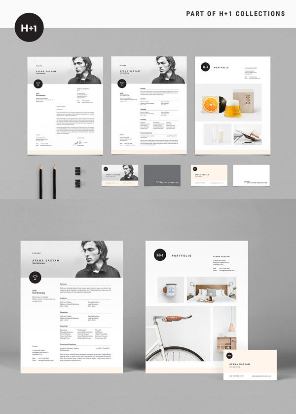 Clean-Resume-Template-With-Business-Card