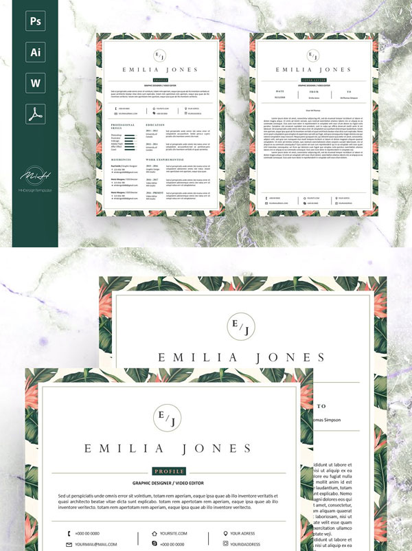 Leaf-Floral-Resume-Template