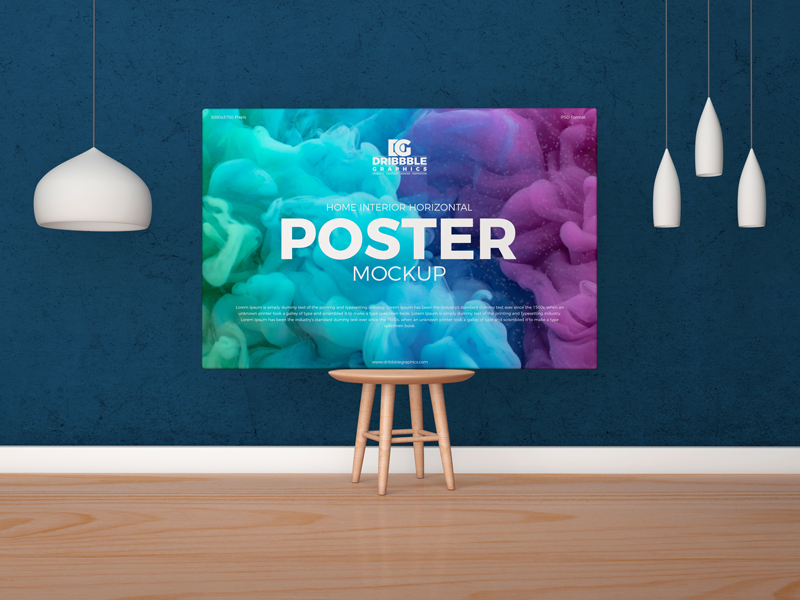 Free-Horizontal-Poster-Canvas-Mockup-on-Wooden-Chair
