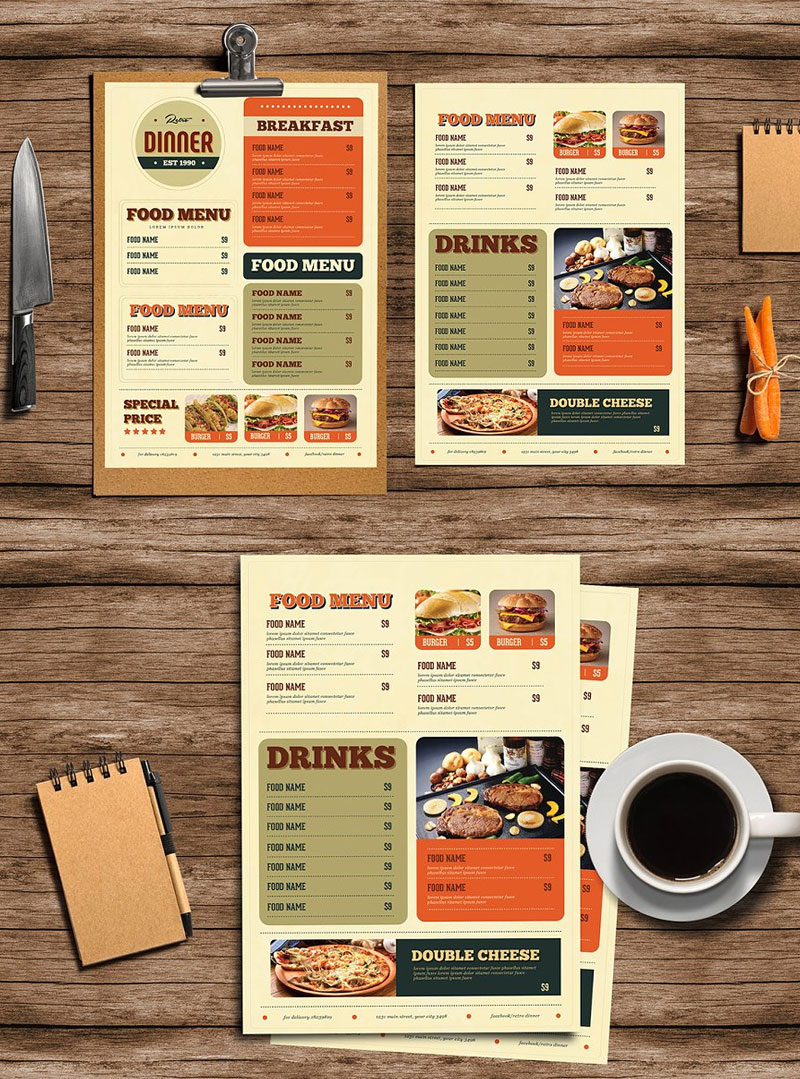 Retro-Diner-Food-Menu-Design-Template